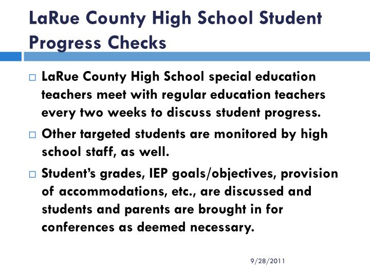 LaRue County High School Student Progress Checks