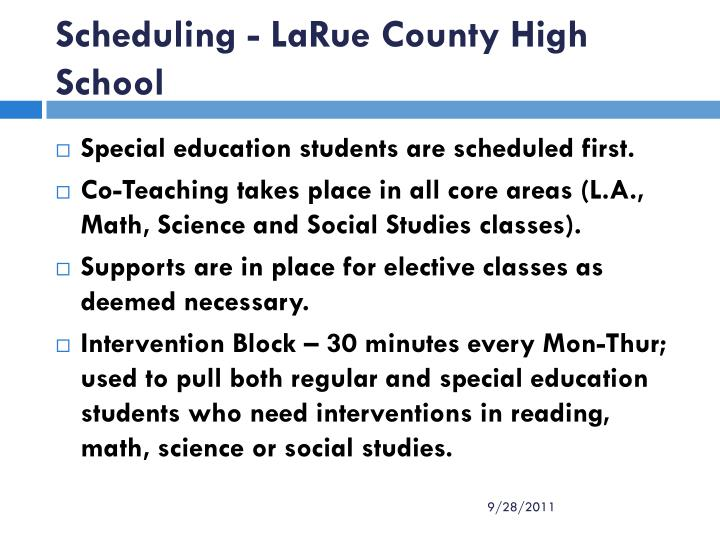 Scheduling - LaRue County High School