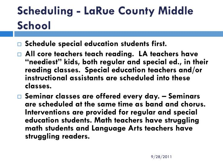 Scheduling - LaRue County Middle School