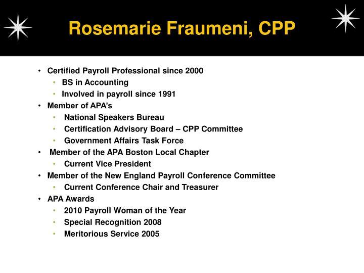 Rosemarie Fraumeni, CPP