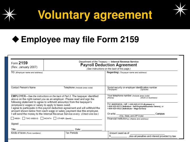 Voluntary agreement