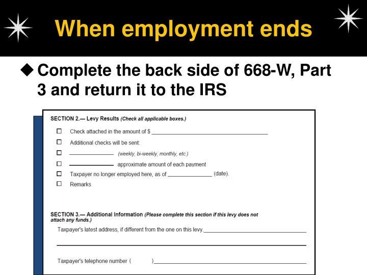 When employment ends