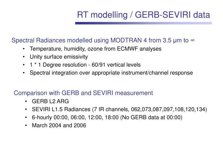 RT modelling / GERB-SEVIRI data