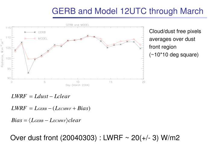 GERB and Model 12UTC through March