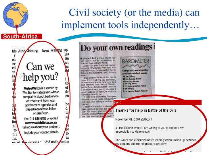 Civil society (or the media) can implement tools independently…