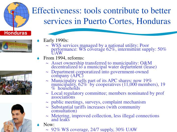 Effectiveness: tools contribute to better services in Puerto Cortes, Honduras