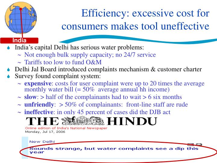 Efficiency: excessive cost for consumers makes tool uneffective