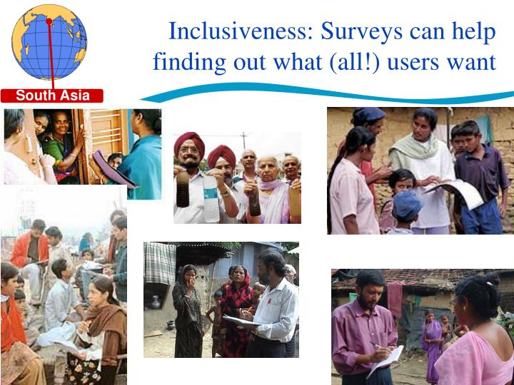 Inclusiveness: Surveys can help finding out what (all!) users want