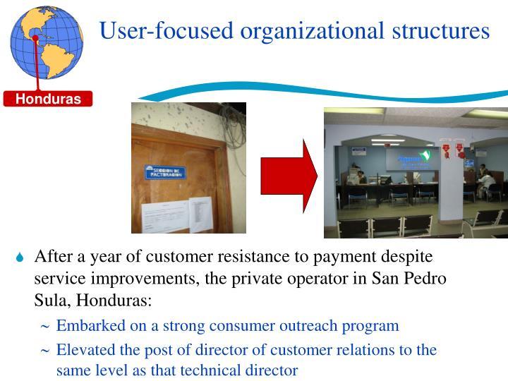 User-focused organizational structures