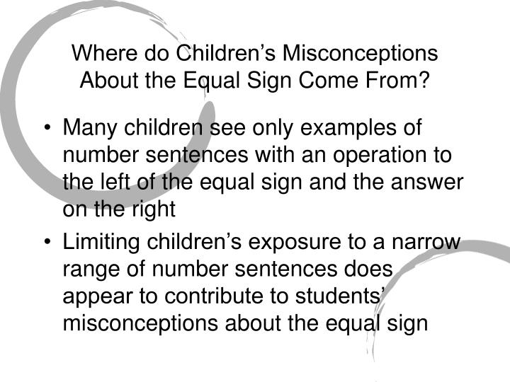 Where do Children's Misconceptions About the Equal Sign Come From?