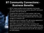bt community connections business benefits