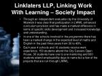 linklaters llp linking work with learning society impact