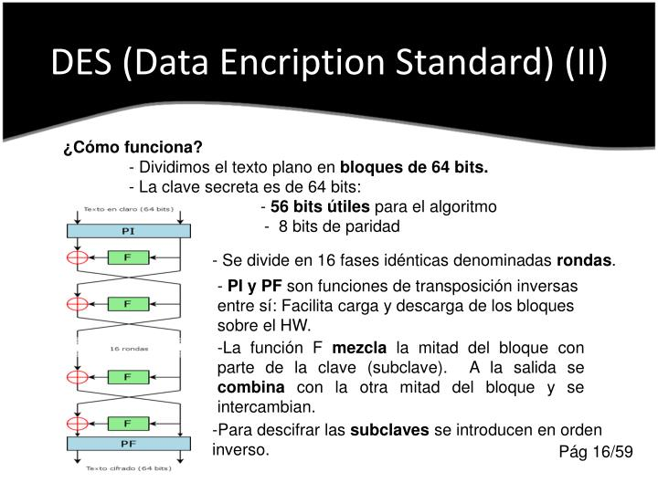 DES (Data Encription Standard) (II)