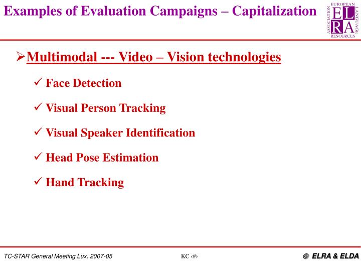 Examples of Evaluation Campaigns – Capitalization