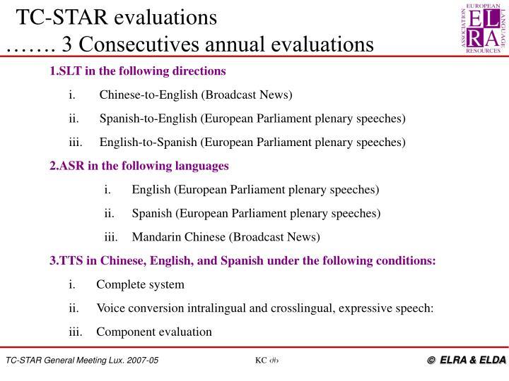 TC-STAR evaluations