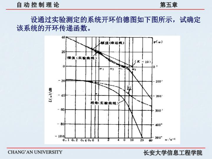 设通过实验测定的系统开环伯德图如下图所示,试确定该系统的开环传递函数。