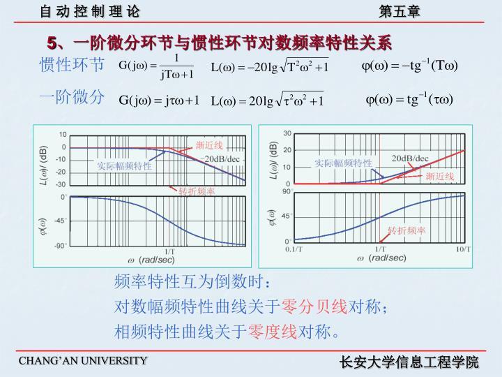 5、一阶微分环节与惯性环节对数频率特性关系