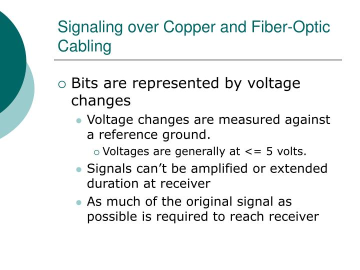 Signaling over Copper and Fiber-Optic Cabling