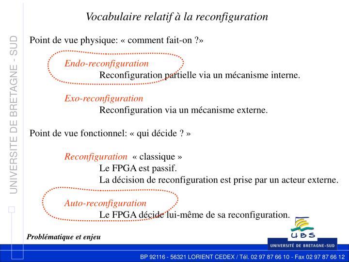 Vocabulaire relatif à la reconfiguration
