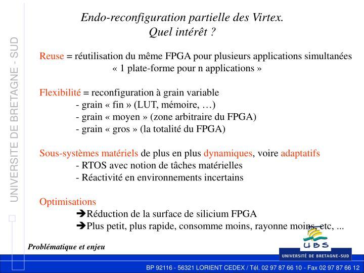 Endo-reconfiguration partielle des Virtex.