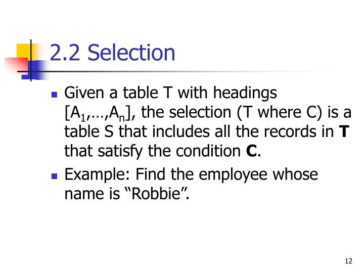 2.2 Selection