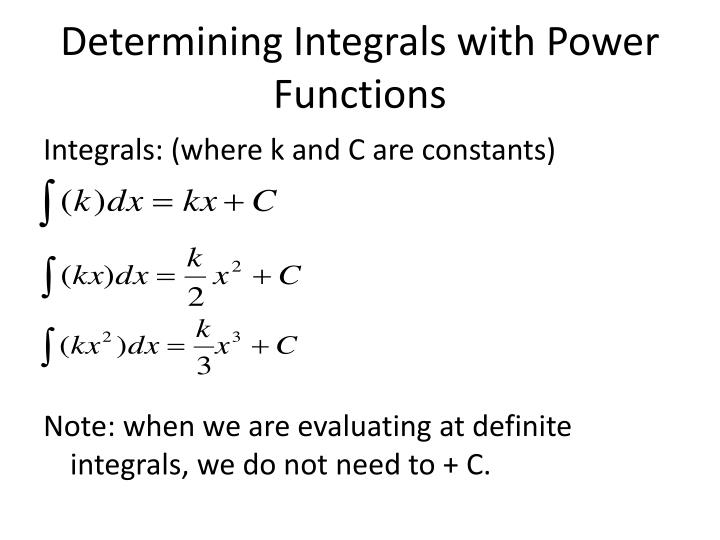 Determining Integrals with Power Functions