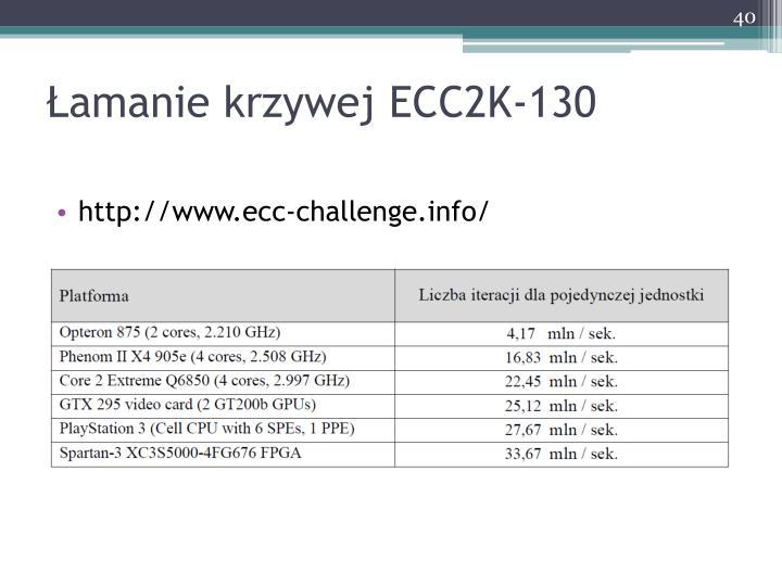Łamanie krzywej ECC2K-130