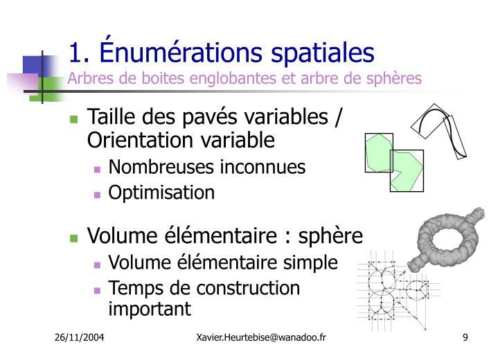1. Énumérations spatiales