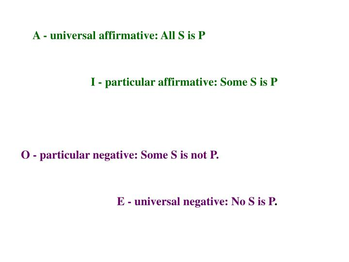 A - universal affirmative: All S is P