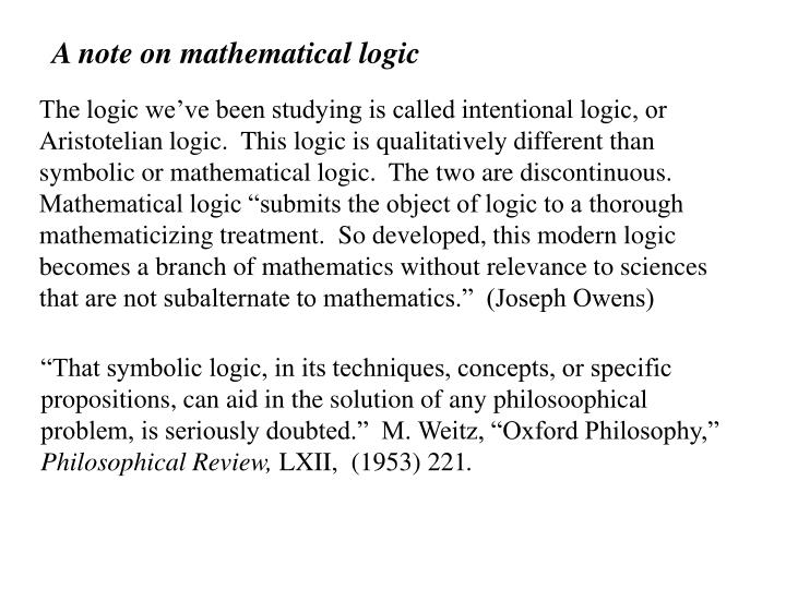 A note on mathematical logic