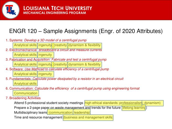 ENGR 120 – Sample Assignments (Engr. of 2020 Attributes)
