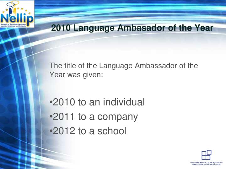 2010 Language Ambasador of the Year