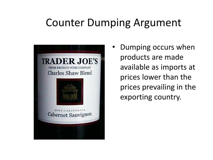 Counter Dumping Argument