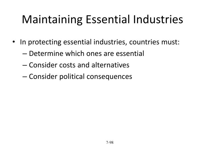 Maintaining Essential Industries