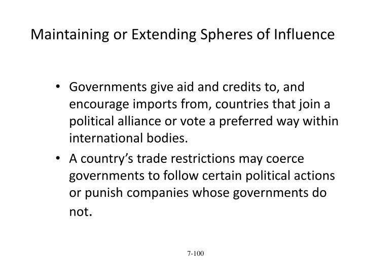 Maintaining or Extending Spheres of Influence