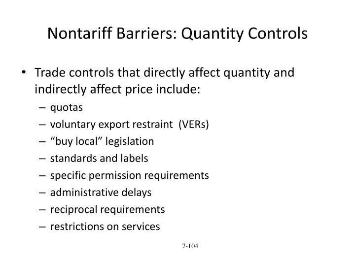 Nontariff Barriers: Quantity Controls