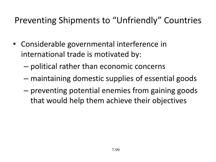 "Preventing Shipments to ""Unfriendly"" Countries"