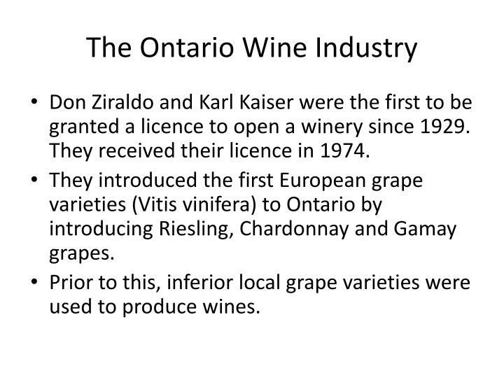The Ontario Wine Industry