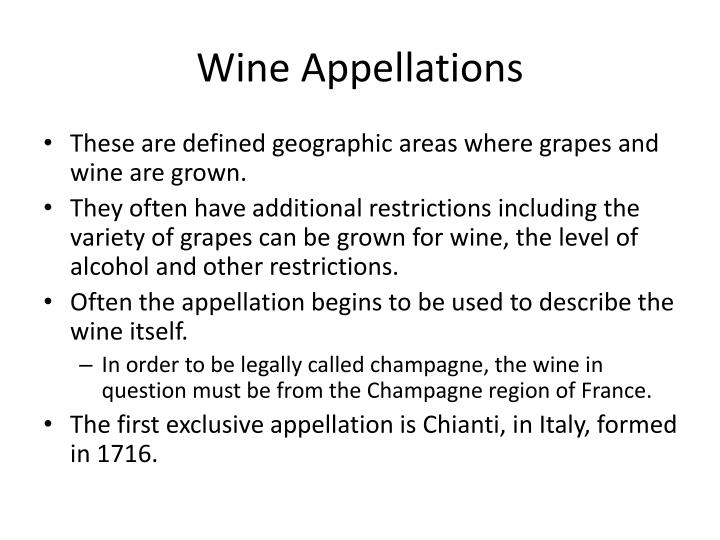 Wine Appellations