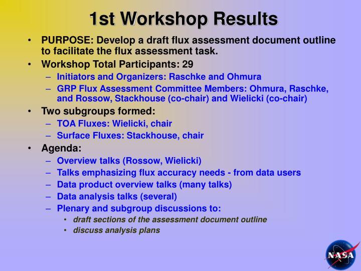 1st Workshop Results