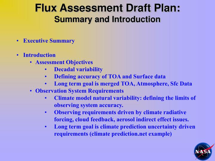 Flux Assessment Draft Plan: