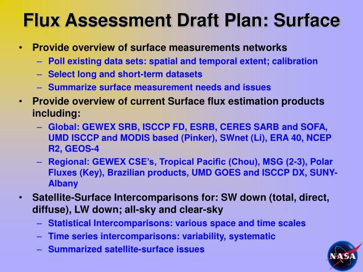 Flux Assessment Draft Plan: Surface
