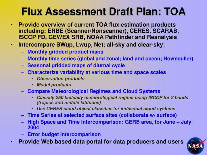 Flux Assessment Draft Plan: TOA