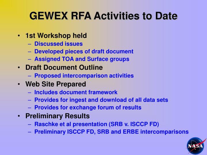 GEWEX RFA Activities to Date