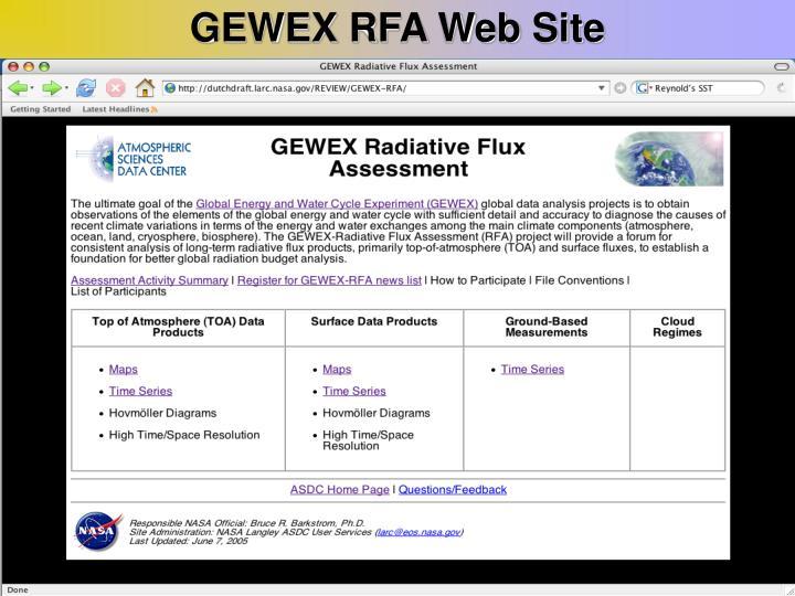 GEWEX RFA Web Site