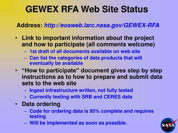 GEWEX RFA Web Site Status