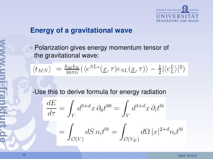Energy of a gravitational wave