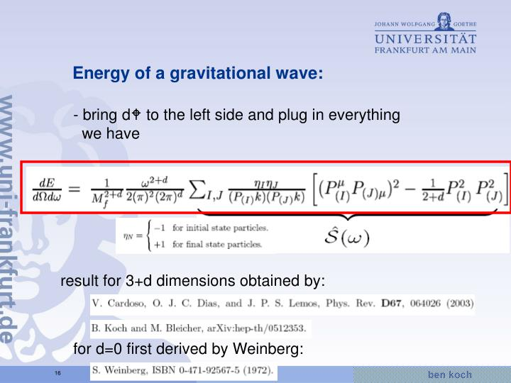 Energy of a gravitational wave: