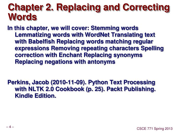 Chapter 2. Replacing and Correcting Words