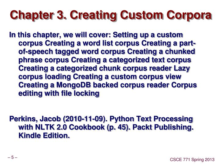 Chapter 3. Creating Custom Corpora